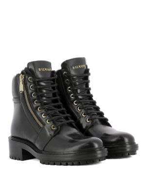 Balmain: ankle boots online - Side zip detail leather ankle boots
