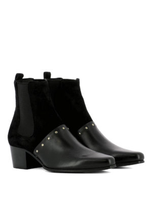 Balmain: ankle boots online - Studded suede and leather booties