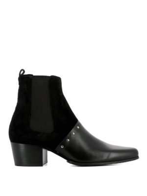 Balmain: ankle boots - Studded suede and leather booties