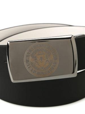 Balmain: belts online - Black and white reversible belt