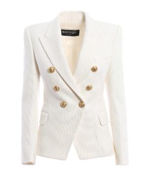 Balmain: blazers - Cotton textured blazer