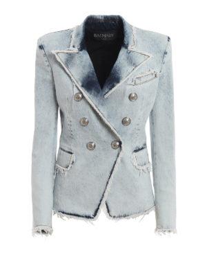 b8a282908216 Balmain: giacche blazer - Blazer in denim slavato