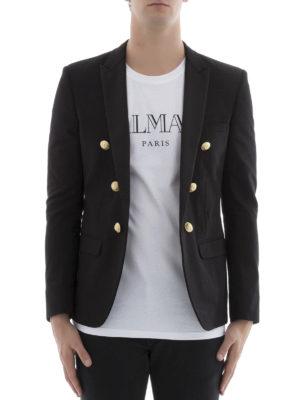Balmain: blazers online - Cotton livery blazer