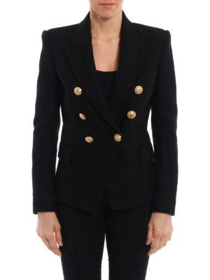 Balmain: blazers online - Cotton textured blazer