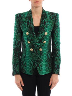 Balmain: blazers online - Snake-effect textured blazer