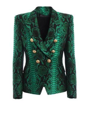 Balmain: blazers - Snake-effect textured blazer
