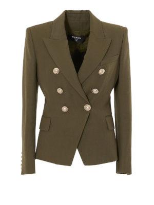 Balmain: blazers - Wool blend double-breasted blazer