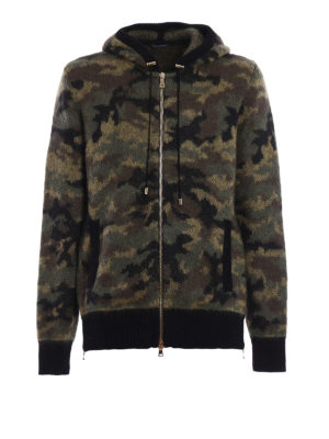 Balmain: cardigans - Hoodie style fluffy zipped cardigan