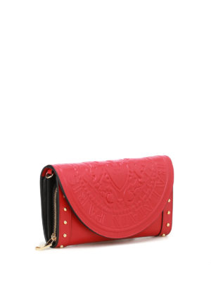 Balmain: clutches online - Red calfskin wallet clutch