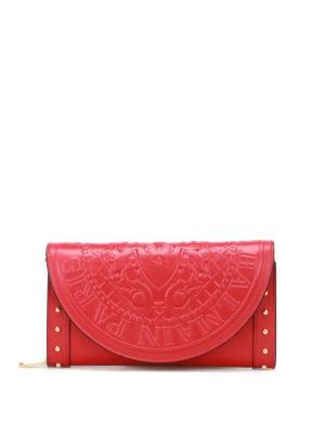 Balmain: clutches - Red calfskin wallet clutch