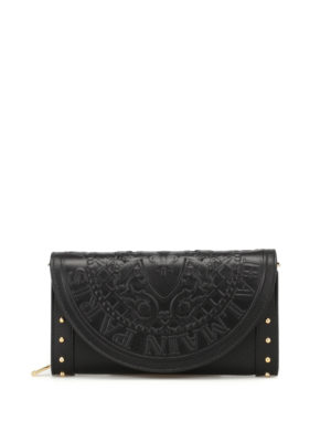 Balmain: clutches - Smooth leather wallet clutch