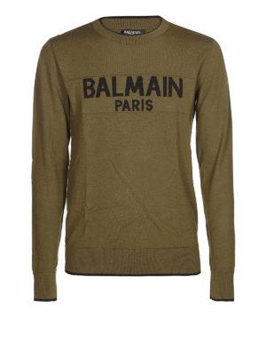 Balmain: maglia collo rotondo - Pull in lana con intarsio Balmain Paris