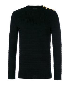 Balmain: crew necks - Horizontal ribbed wool sweater