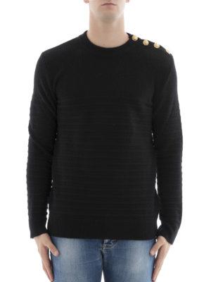 Balmain: crew necks online - Horizontal ribbed wool sweater