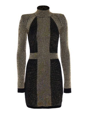 Balmain: evening dresses - Colour block velvet and lurex dress