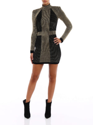Balmain: evening dresses online - Colour block velvet and lurex dress