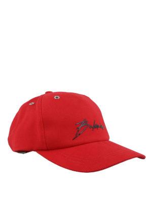 55481cb9ceb Balmain: cappelli - Cappellino da baseball con firma Balmain