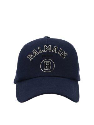 Balmain: hats & caps - Printed logo cap