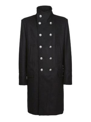 Balmain: cappotti al ginocchio - Cappotto doppiopetto in lana e cashmere nero
