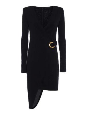 Balmain: knee length dresses - Knit wool asymmetric dress
