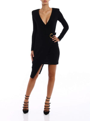 Balmain: knee length dresses online - Knit wool asymmetric dress