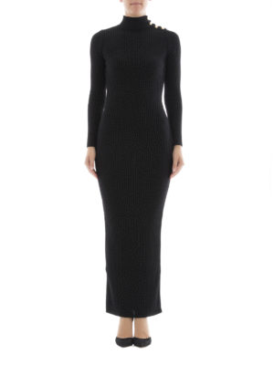 Balmain: maxi dresses online - Rib knitted wool long dress