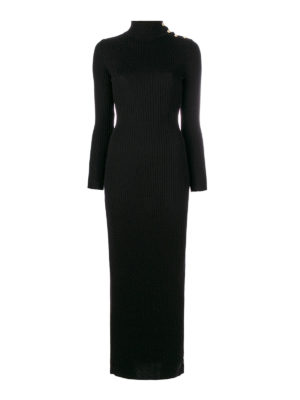 Balmain: maxi dresses - Rib knitted wool long dress