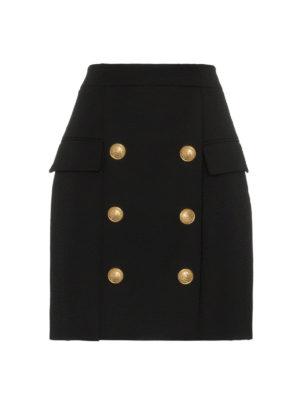 Balmain: minigonne - Gonna in lana con tasche e bottoni dorati