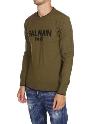 Balmain: maglia collo rotondo online - Pull in lana con intarsio Balmain Paris