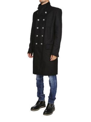 Balmain: cappotti al ginocchio online - Cappotto doppiopetto in lana e cashmere nero