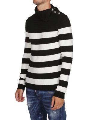 Balmain: maglia a collo alto e polo online - Dolcevita in lana a righe con bottoni