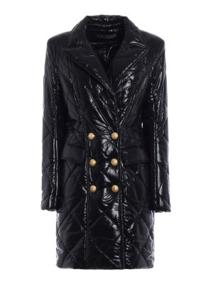 Balmain: padded coats - Quilted padded shiny short coat