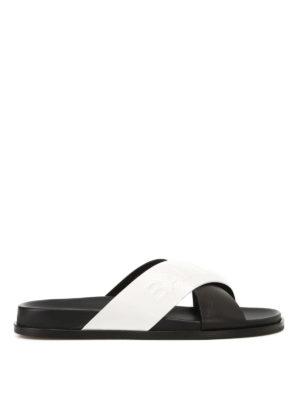 Balmain: sandals - Leather logo embossed sandals
