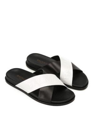 Balmain: sandals online - Leather logo embossed sandals