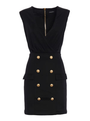 Balmain: short dresses - Buttoned crepe short dress