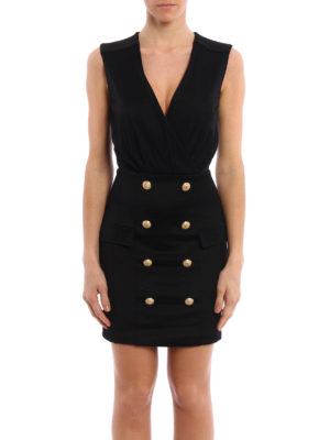 Balmain: short dresses online - Buttoned crepe short dress