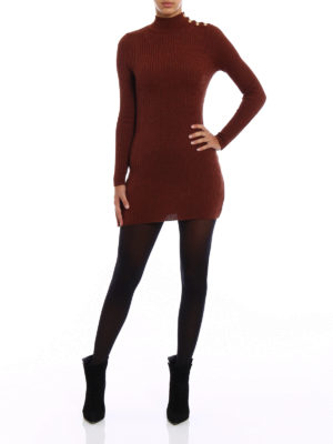 Balmain: short dresses online - Rib knitted wool mini dress