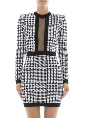 Balmain: short dresses online - Sheer panelled houndstooth dress