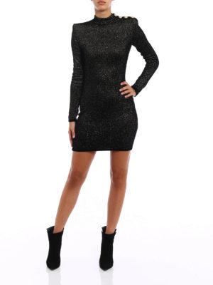 Balmain: short dresses online - Velvet and lurex dress