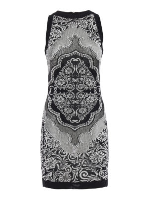 Balmain: short dresses - Patterned knit fitted dress