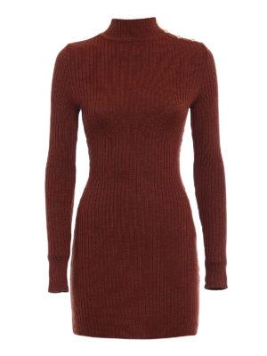 Balmain: short dresses - Rib knitted wool mini dress