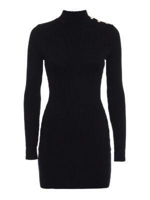 Balmain: short dresses - Ribbed wool mini black dress