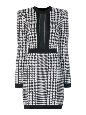 Balmain: short dresses - Sheer panelled houndstooth dress