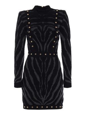 Balmain: short dresses - Studded patterned mini dress
