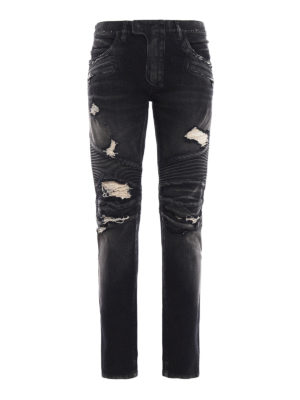 Balmain: skinny jeans - Biker Distressed dyed denim jeans
