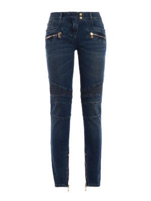 Balmain: skinny jeans - Biker inspired denim jeans