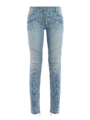 Balmain: skinny jeans - Jacquard denim jeans