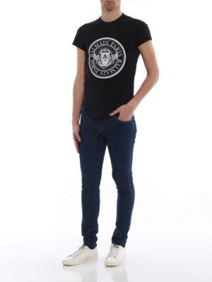 Balmain: skinny jeans online - Back embossed logo denim jeans