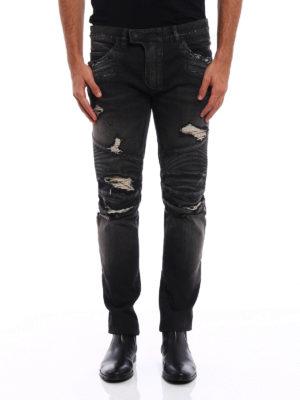 Balmain: skinny jeans online - Biker Distressed dyed denim jeans