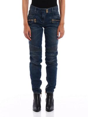 Balmain: skinny jeans online - Biker inspired denim jeans